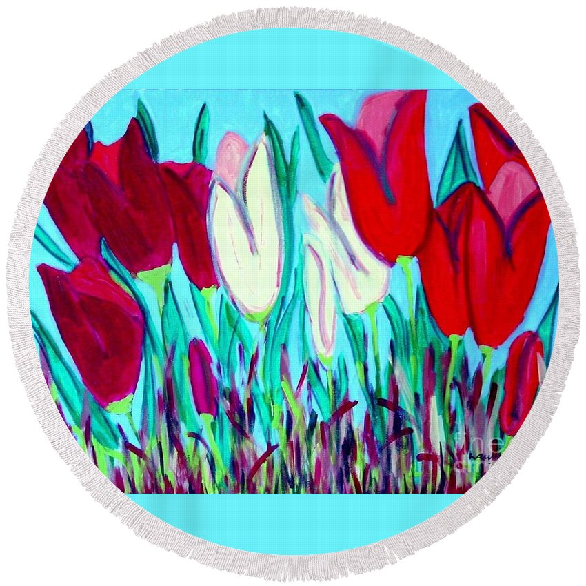 Tulips Round Beach Towel featuring the painting Velvet Tulips by Laurie Morgan