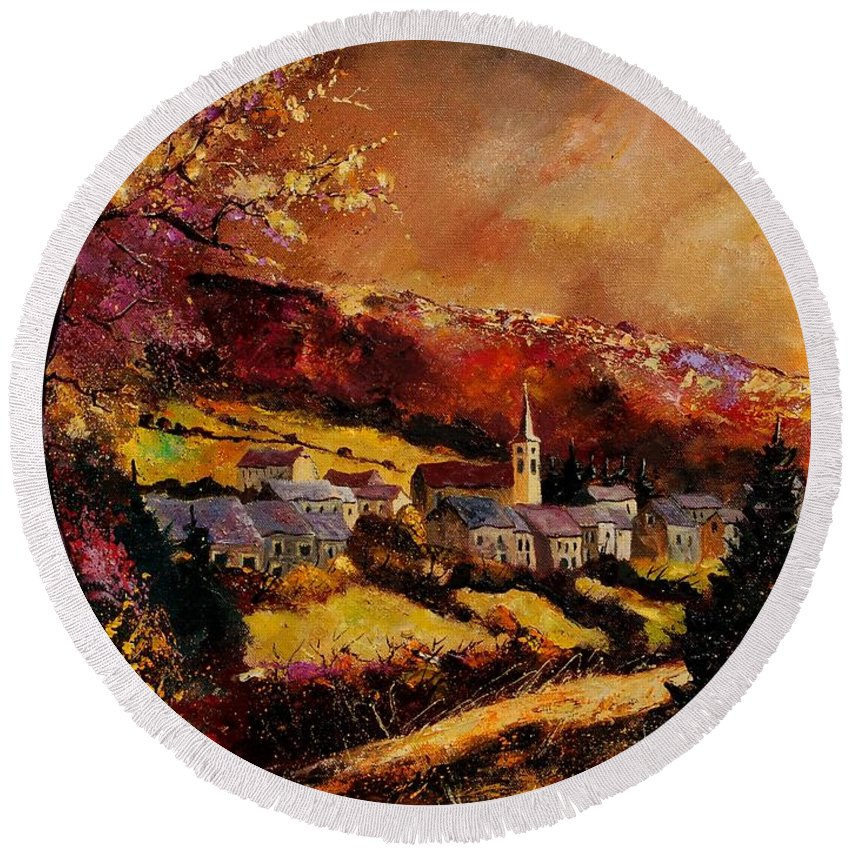 River Round Beach Towel featuring the painting Vencimont Village Ardennes by Pol Ledent