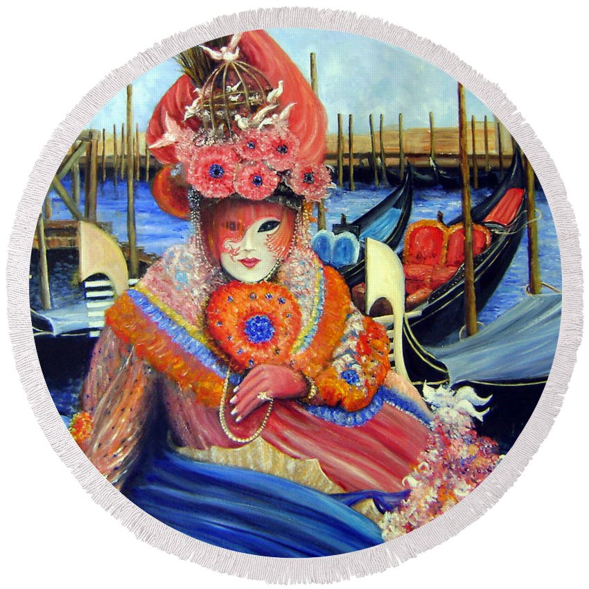 Venice Round Beach Towel featuring the painting Venetian Carneval Mask With Bird Cage by Leonardo Ruggieri