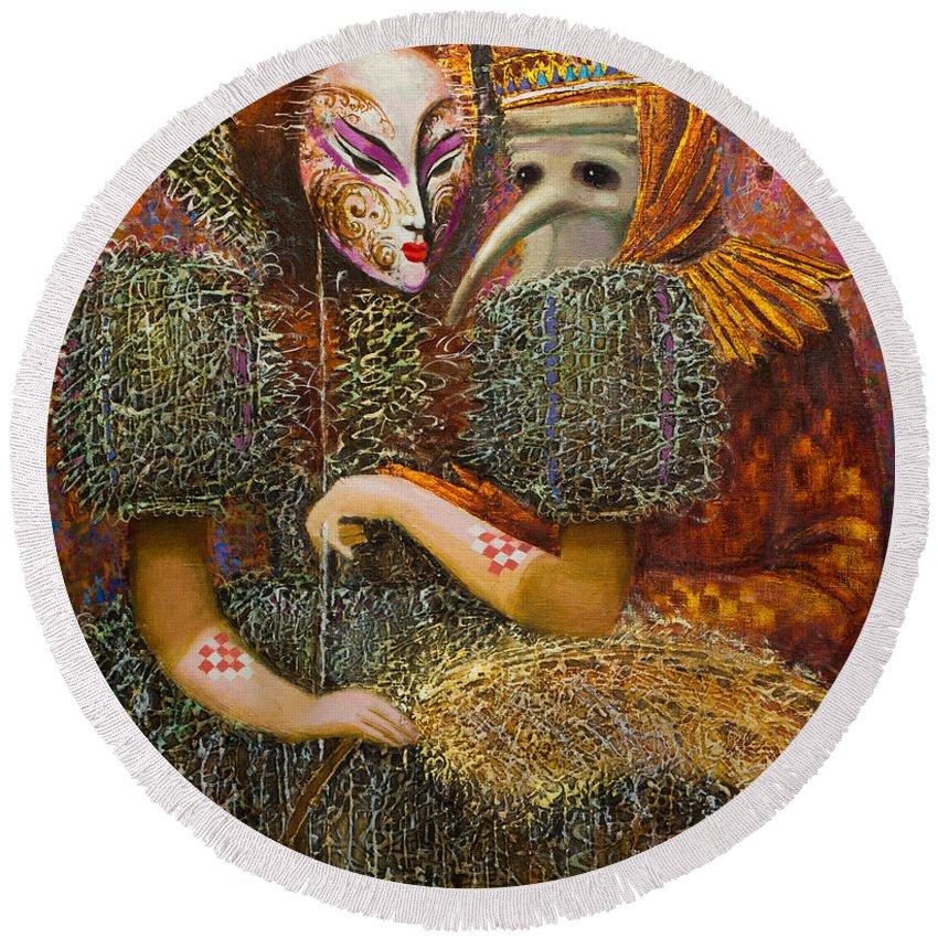 Venetian Mask Round Beach Towel featuring the painting Venetian Masks by Valentina Kondrashova