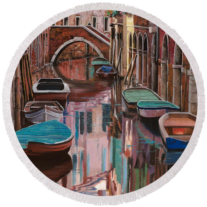 Venice Round Beach Towel featuring the painting Venezia A Colori by Guido Borelli