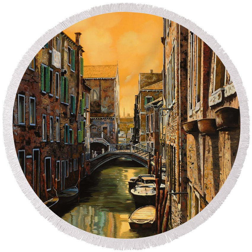 Venice Round Beach Towel featuring the painting Venezia Al Tramonto by Guido Borelli