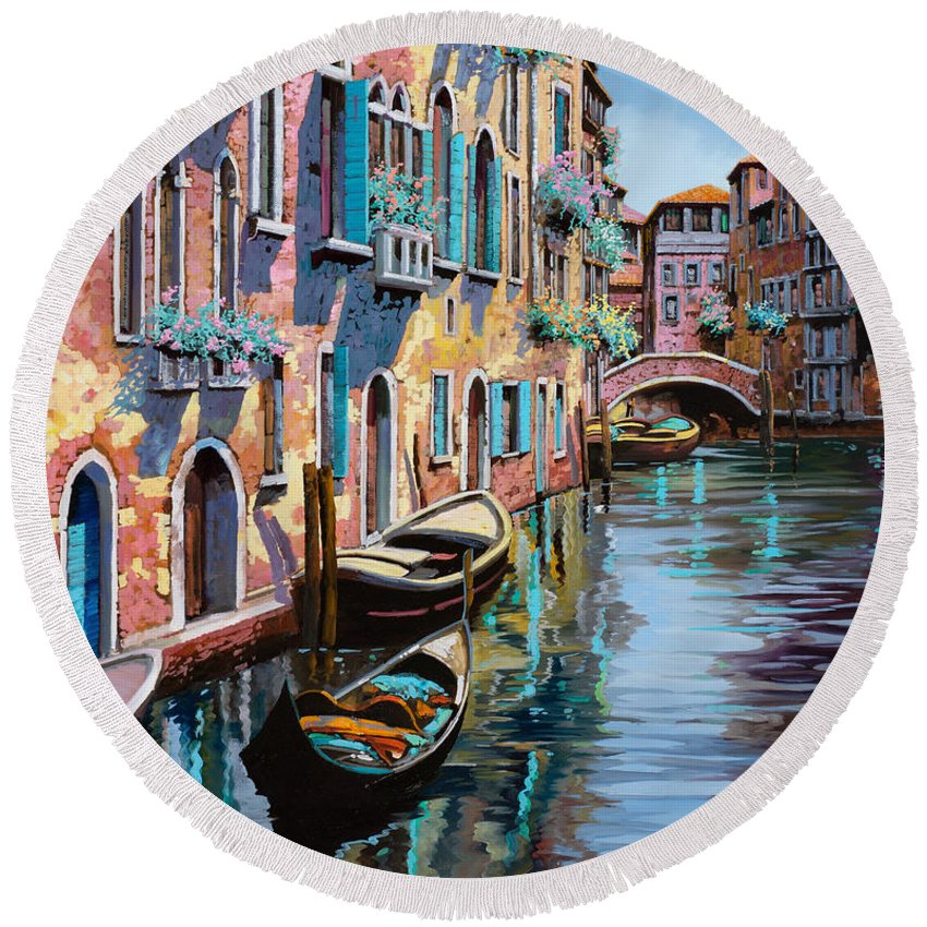 Venice Round Beach Towel featuring the painting Venezia In Rosa by Guido Borelli