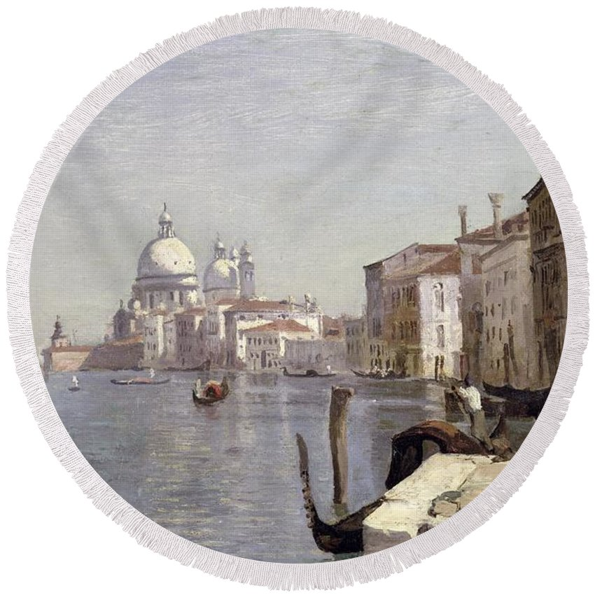 Venice Round Beach Towel featuring the painting Venice - View Of Campo Della Carita Looking Towards The Dome Of The Salute by Jean Baptiste Camille Corot