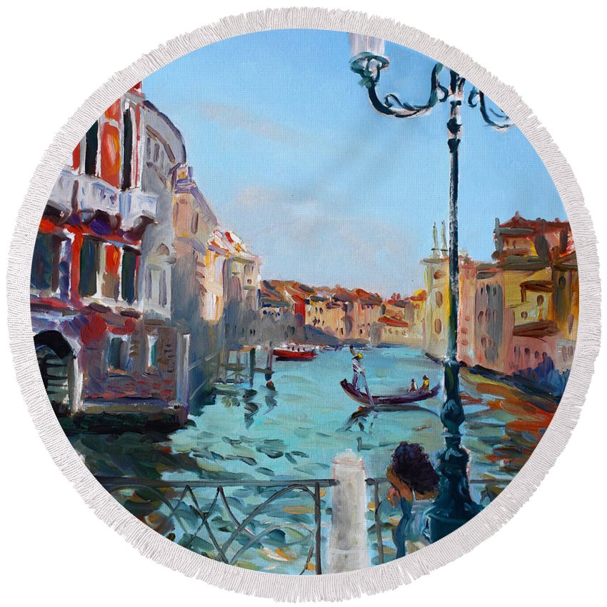 Italy Round Beach Towel featuring the painting Venice Aspetando by Ylli Haruni