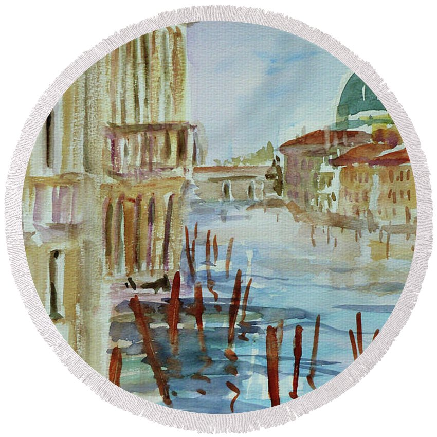 Venice Round Beach Towel featuring the painting Venice Impression IIi by Xueling Zou