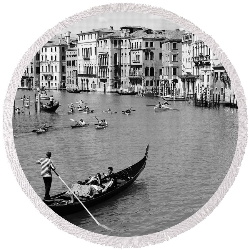 A Wonderful View Of The Grand Canal From Venice From The Rialto Bridge Round Beach Towel featuring the photograph Venice In Black And White by Victor Carvalho