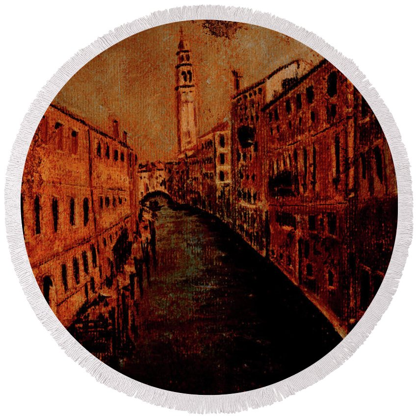 Venice Poster Round Beach Towel featuring the painting Venice In Golden Sunlight by Callan Art