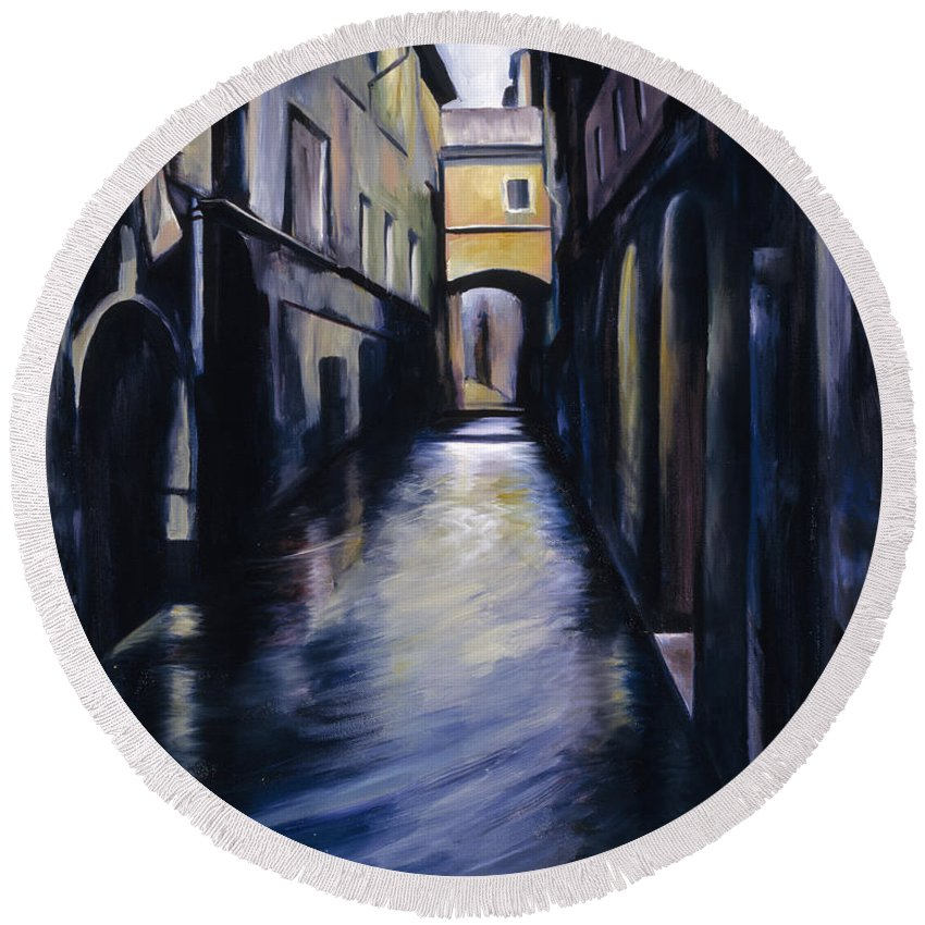 Street; Canal; Venice ; Desert; Abandoned; Delapidated; Lost; Highway; Route 66; Road; Vacancy; Run-down; Building; Old Signage; Nastalgia; Vintage; James Christopher Hill; Jameshillgallery.com; Foliage; Sky; Realism; Oils Round Beach Towel featuring the painting Venice by James Christopher Hill