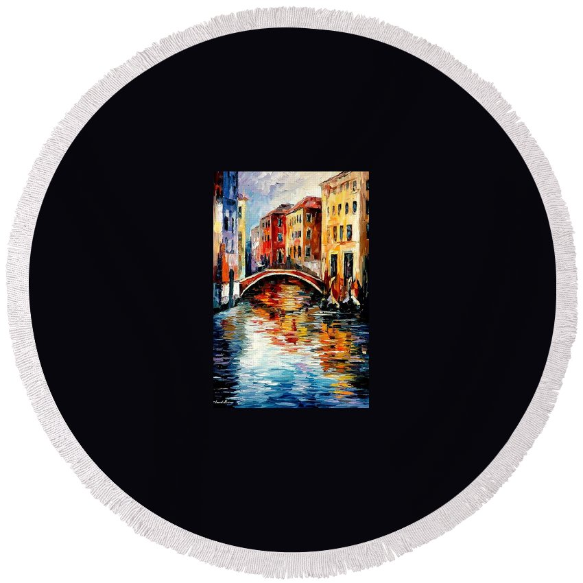 Landscape Round Beach Towel featuring the painting Venice by Leonid Afremov