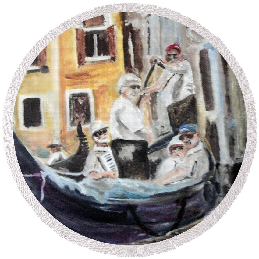 Canal Round Beach Towel featuring the painting Venice Party by Chuck Gebhardt