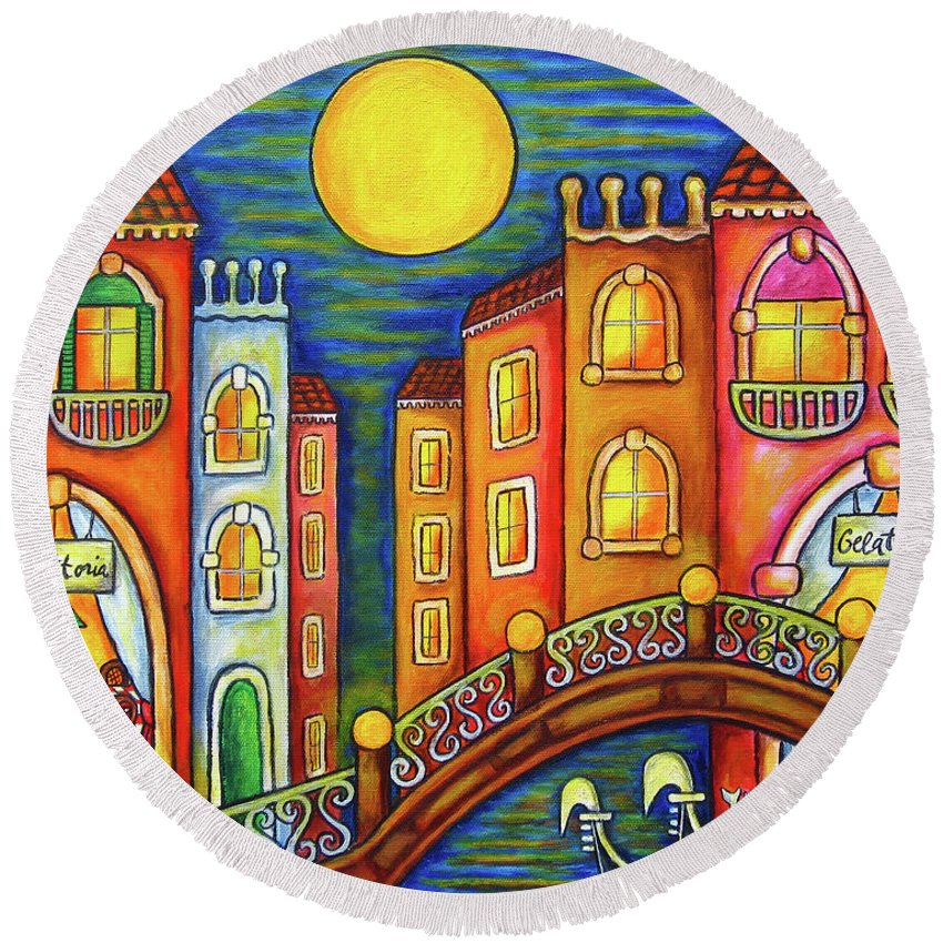 Colourful Round Beach Towel featuring the painting Venice Soiree by Lisa Lorenz