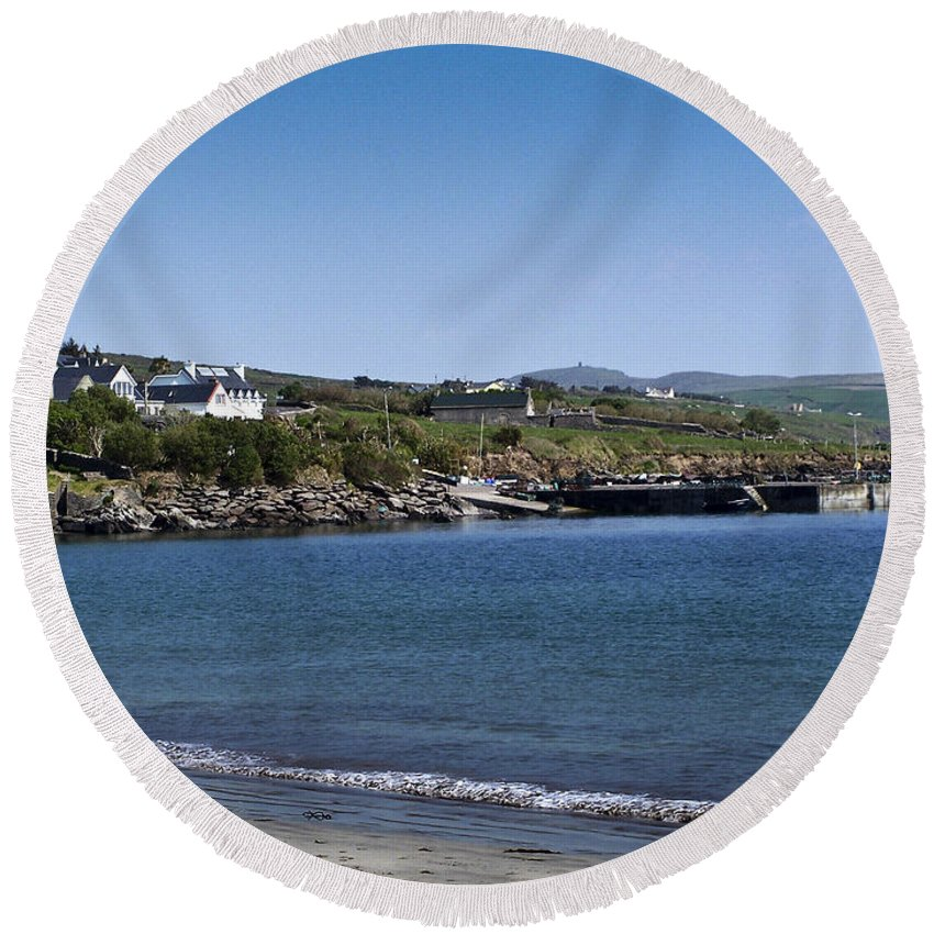 Irish Round Beach Towel featuring the photograph Ventry Beach And Harbor Ireland by Teresa Mucha