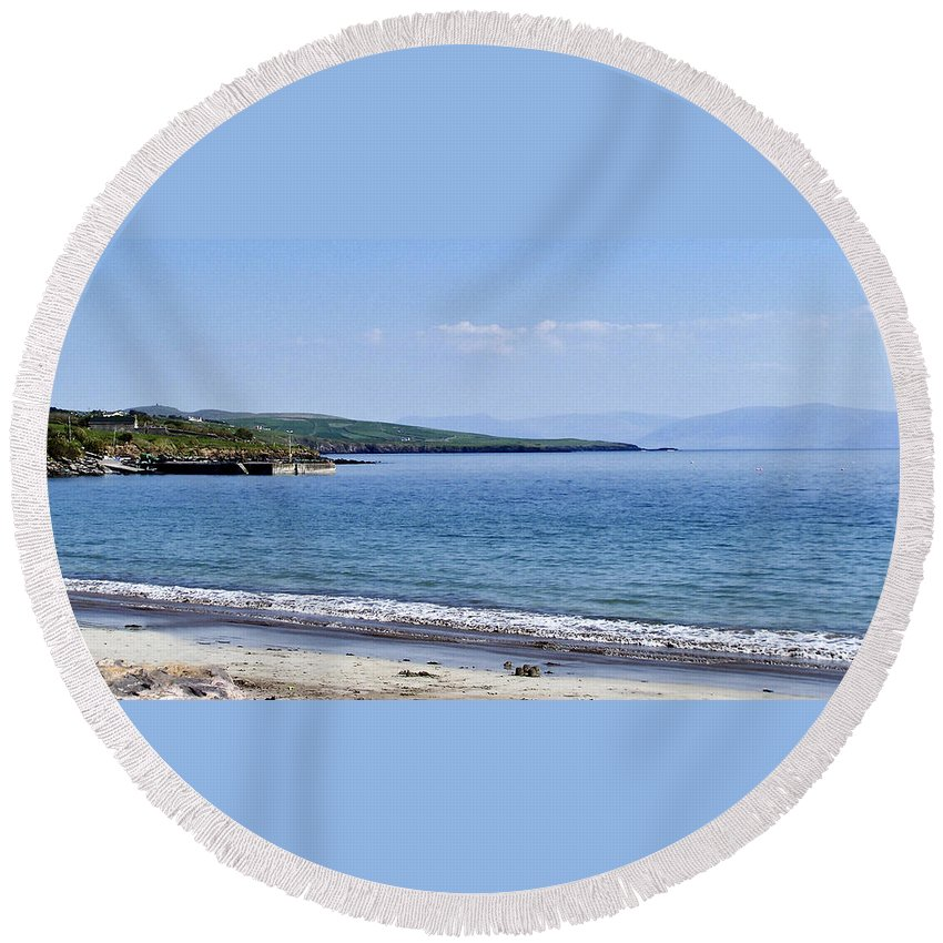Irish Round Beach Towel featuring the photograph Ventry Harbor On The Dingle Peninsula Ireland by Teresa Mucha
