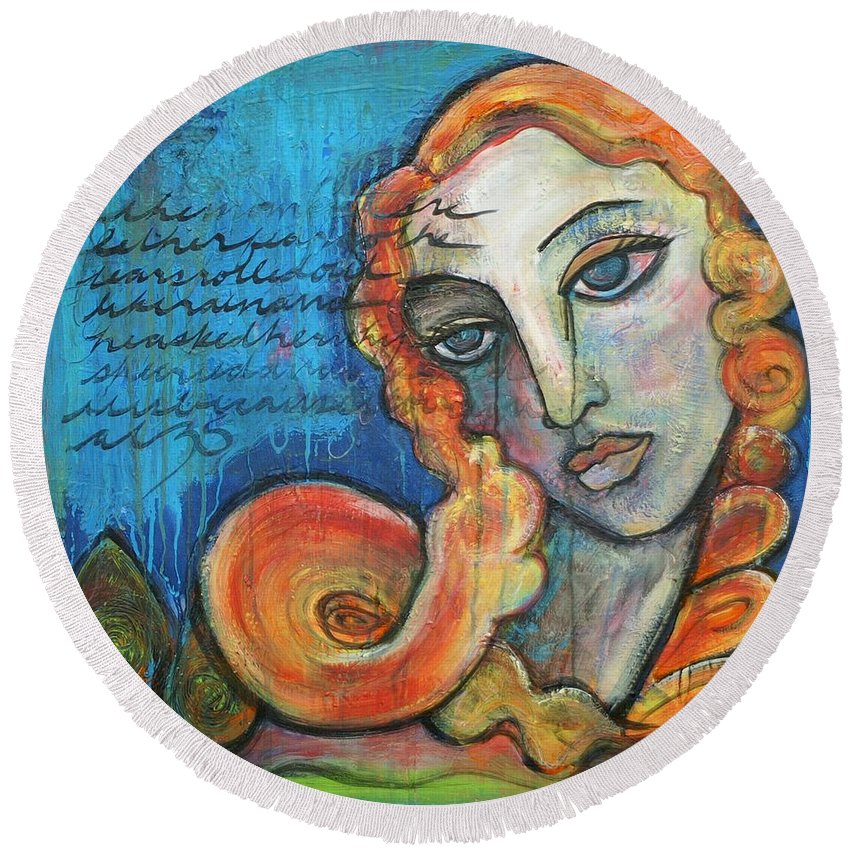 Venus Round Beach Towel featuring the painting Venus Lets Go by Laurie Maves ART