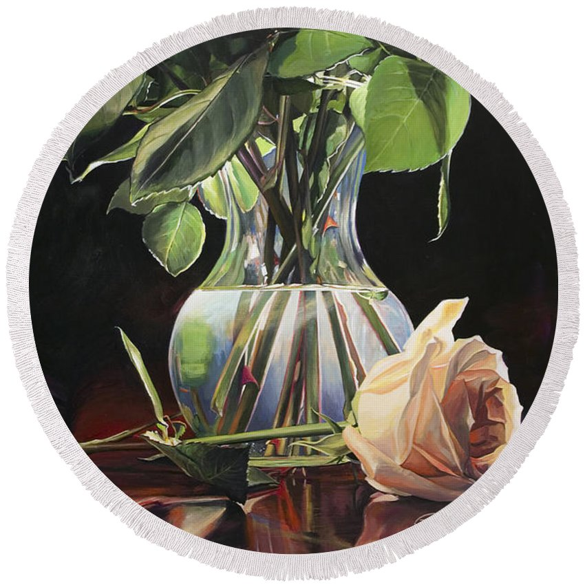 Roses Round Beach Towel featuring the painting Venus' Tears by Rebecca Zook