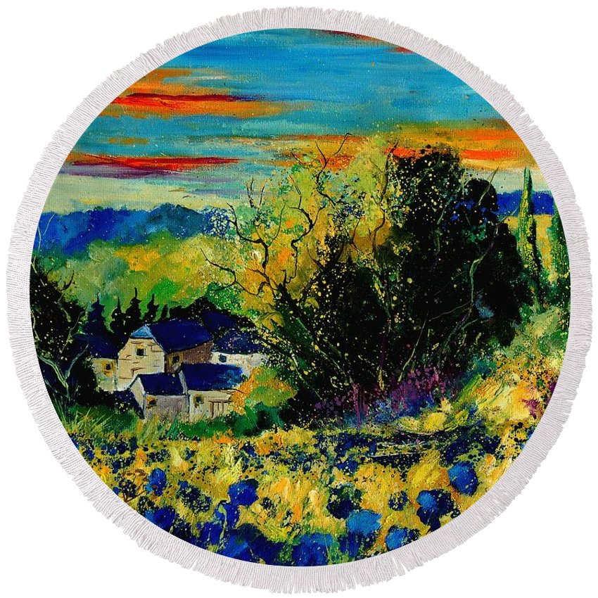 Tree Round Beach Towel featuring the painting ver by Pol Ledent