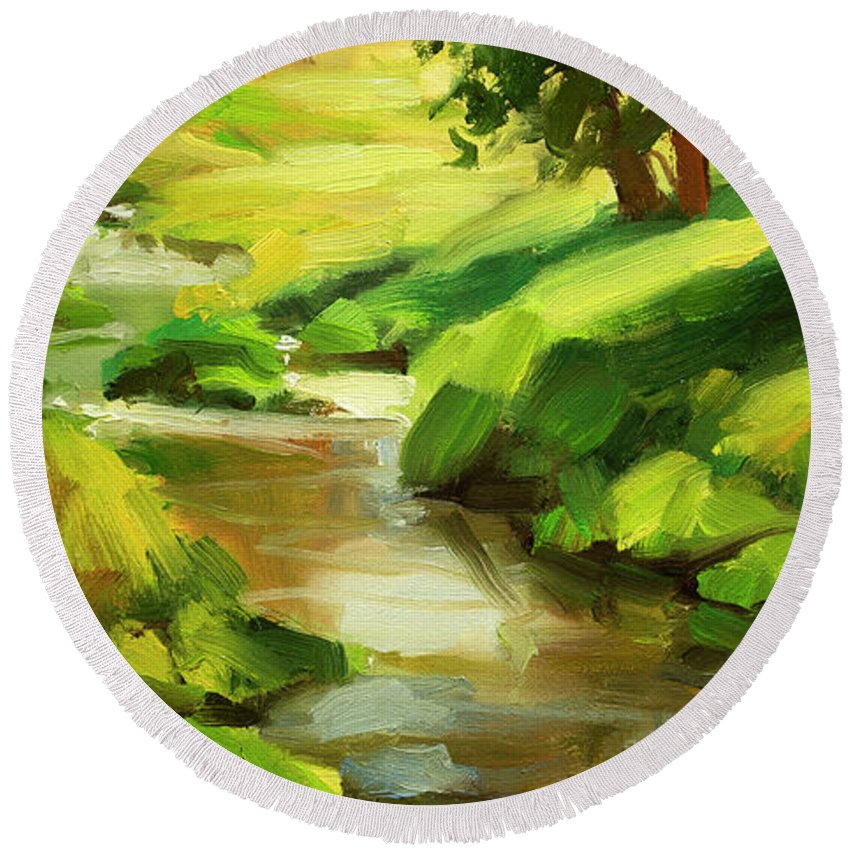 River Round Beach Towel featuring the painting Verdant Banks by Steve Henderson