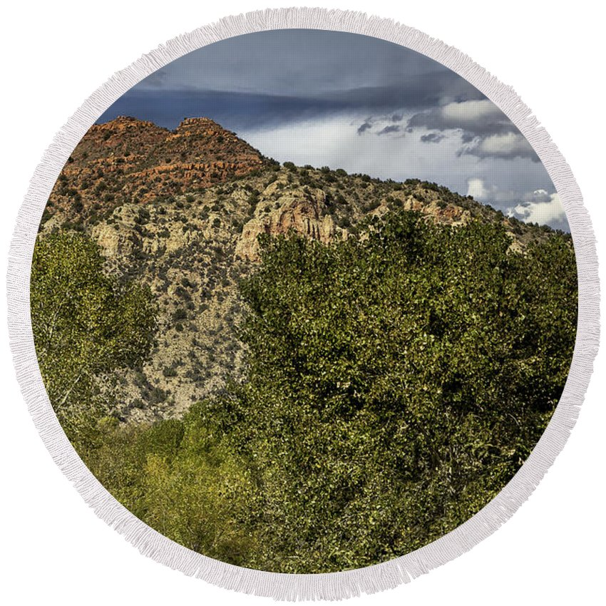 Mountains Round Beach Towel featuring the photograph Verde Canyon by Joseph Yvon Cote