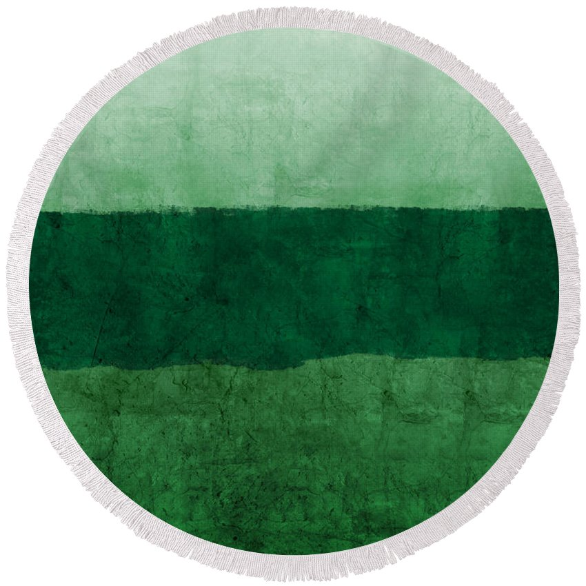 Green Round Beach Towel featuring the painting Verde Landscape 1- Art By Linda Woods by Linda Woods