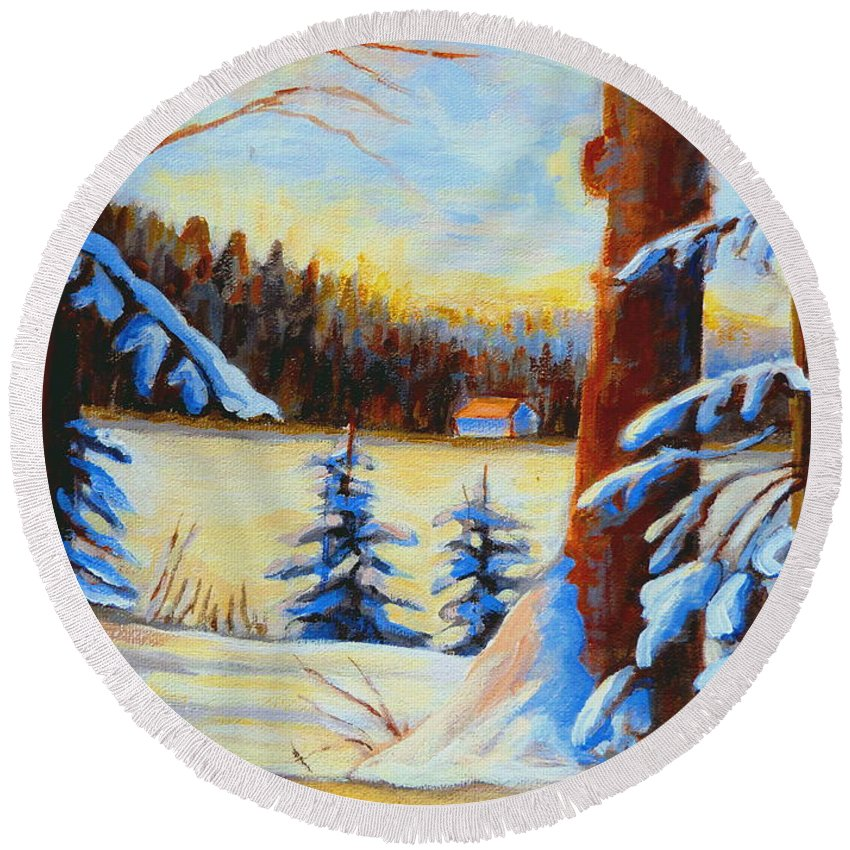 Vermont Round Beach Towel featuring the painting Vermont Log Cabin Maple Syrup Time by Carole Spandau