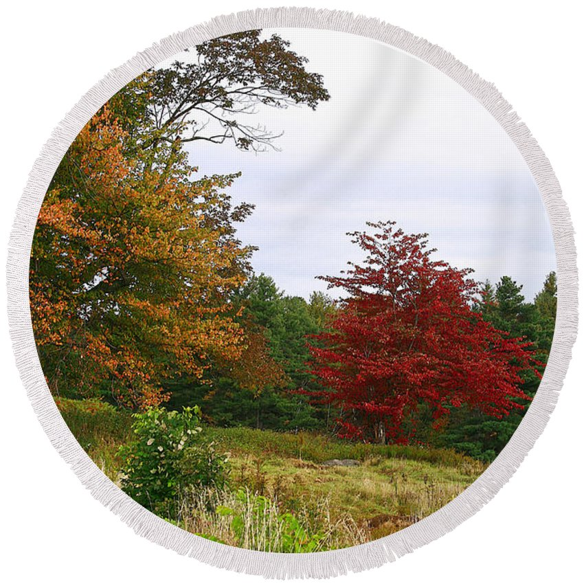 Fall Round Beach Towel featuring the photograph Vermont Roadside Color by Deborah Benoit