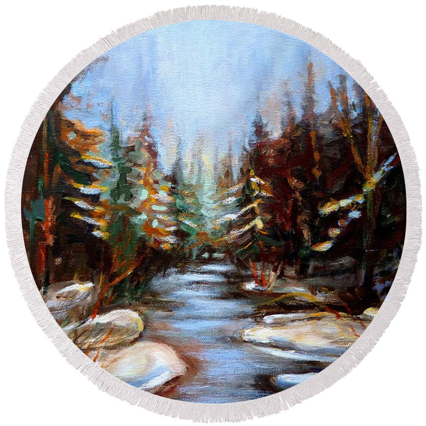 Vermont Round Beach Towel featuring the painting Vermont Stream by Carole Spandau