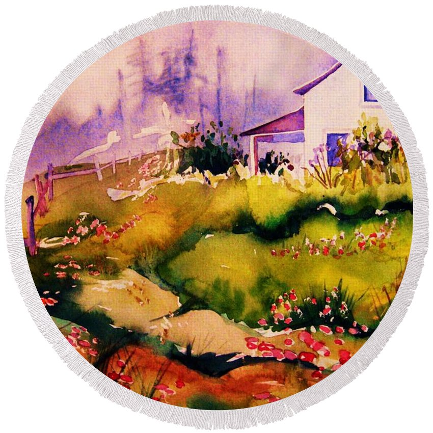 Cottagescenes Round Beach Towel featuring the painting Vermont Summers by Carole Spandau