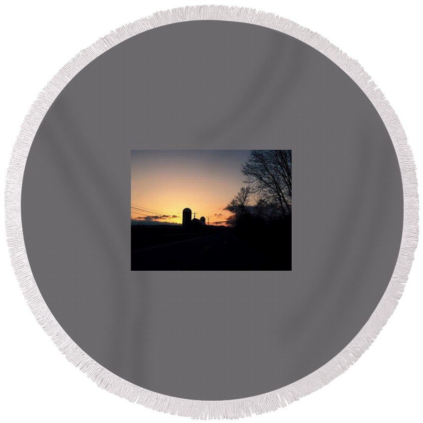 Sunset Round Beach Towel featuring the pyrography Vermont Sunset by Shelby Berry
