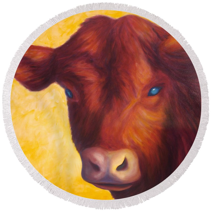 Bull Round Beach Towel featuring the painting Vern by Shannon Grissom