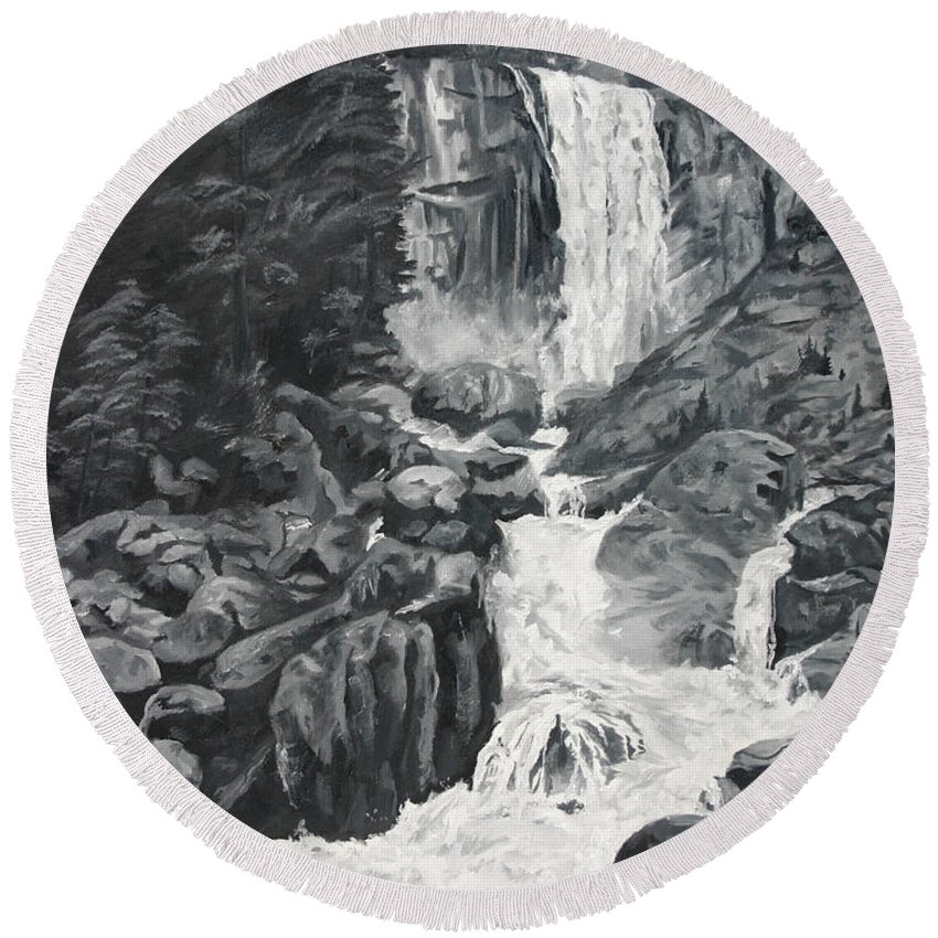 Landscape Round Beach Towel featuring the painting Vernal Falls Black and White by Travis Day
