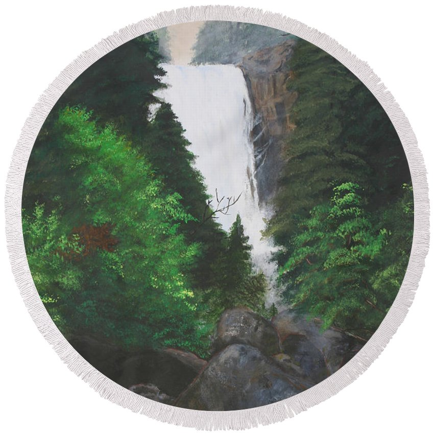 Landscape Round Beach Towel featuring the painting Vernal Falls by Travis Day