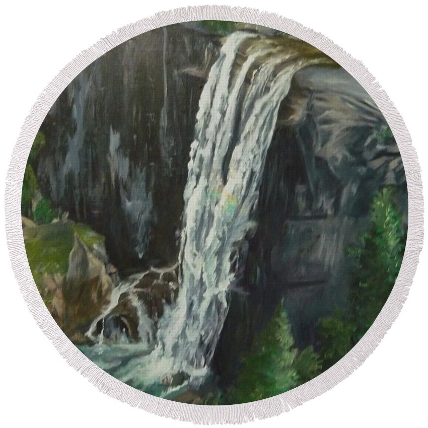 Vernal Falls Round Beach Towel featuring the painting Vernal by Travis Day