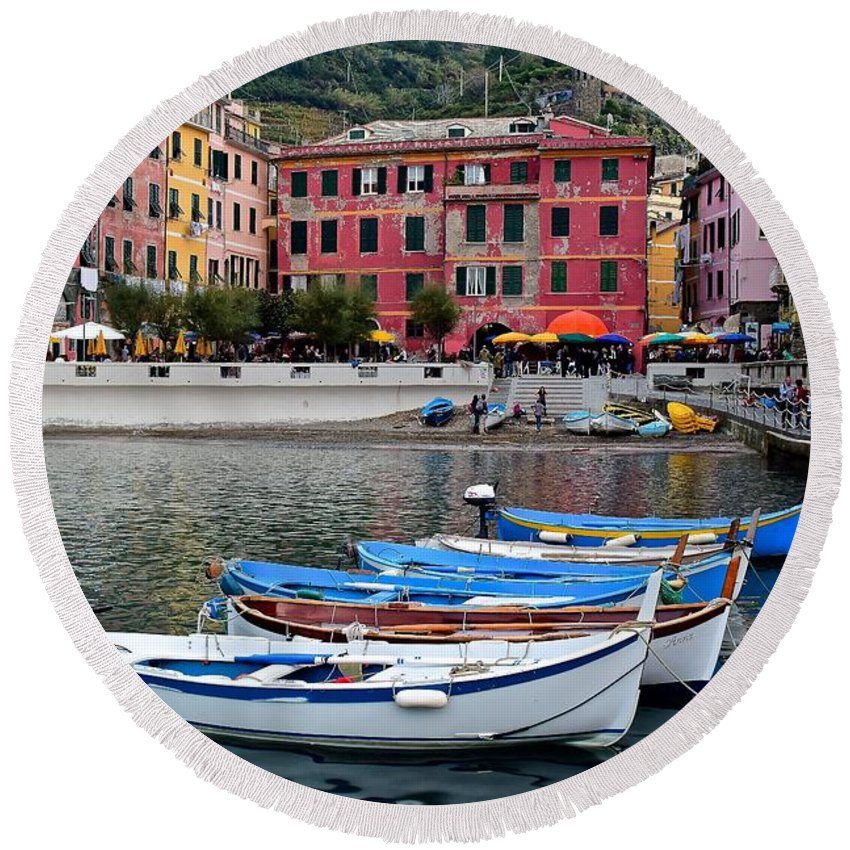 Vernazza Round Beach Towel featuring the photograph Vernazza Harbor by Frozen in Time Fine Art Photography