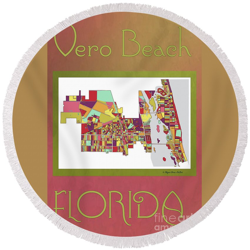 Indian River Round Beach Towel featuring the digital art Vero Beach Map3 by Megan Dirsa-DuBois