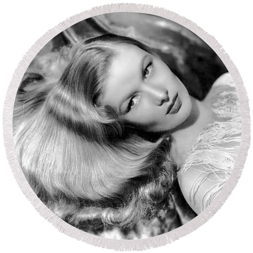 Veronica Lake Round Beach Towel featuring the photograph Veronica Lake by American School