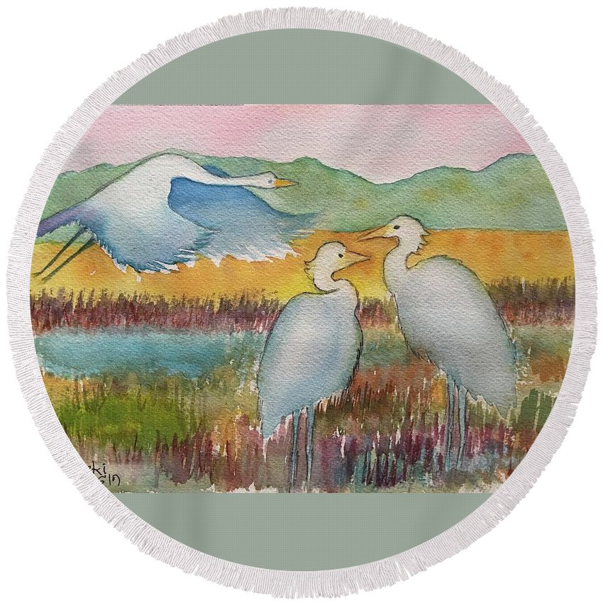 Watercolour Landscape Seascape Cranes Blue Herons Green Mountains Gold Wheat Fields Burgundy Wheat Blue Lake Round Beach Towel featuring the painting Blue Herons by Belinda Balaski