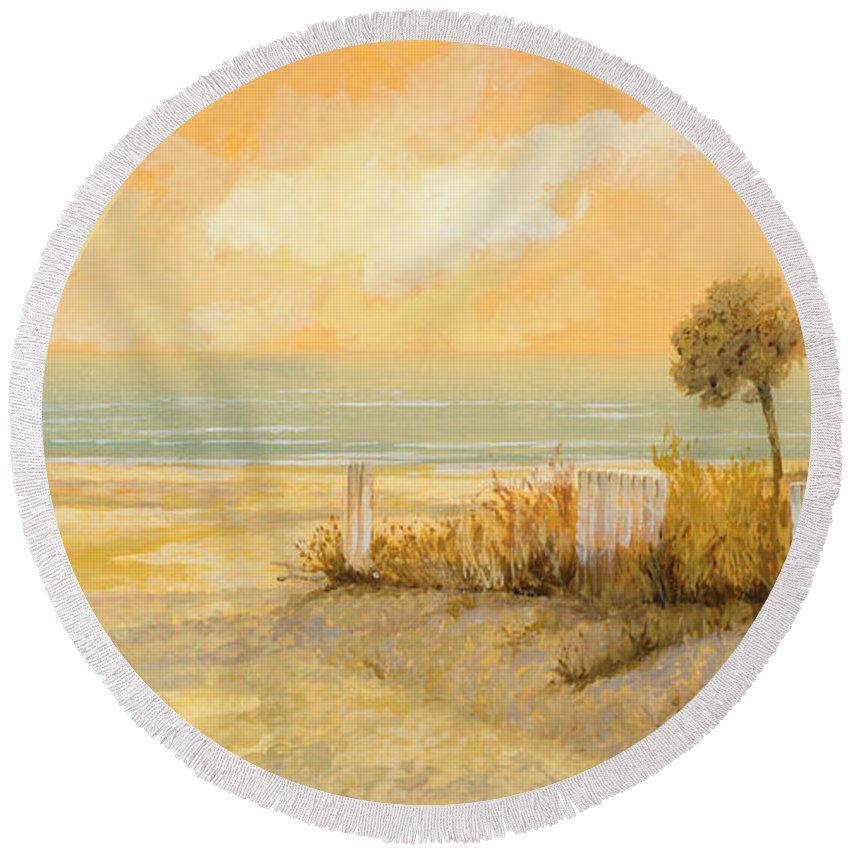 Beach Round Beach Towel featuring the painting Verso La Spiaggia by Guido Borelli