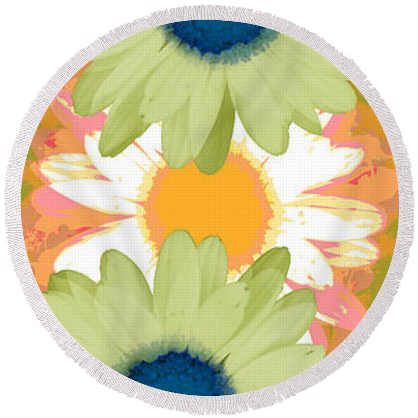 ruth Palmer Art Round Beach Towel featuring the digital art Vertical Daisy Collage II by Ruth Palmer