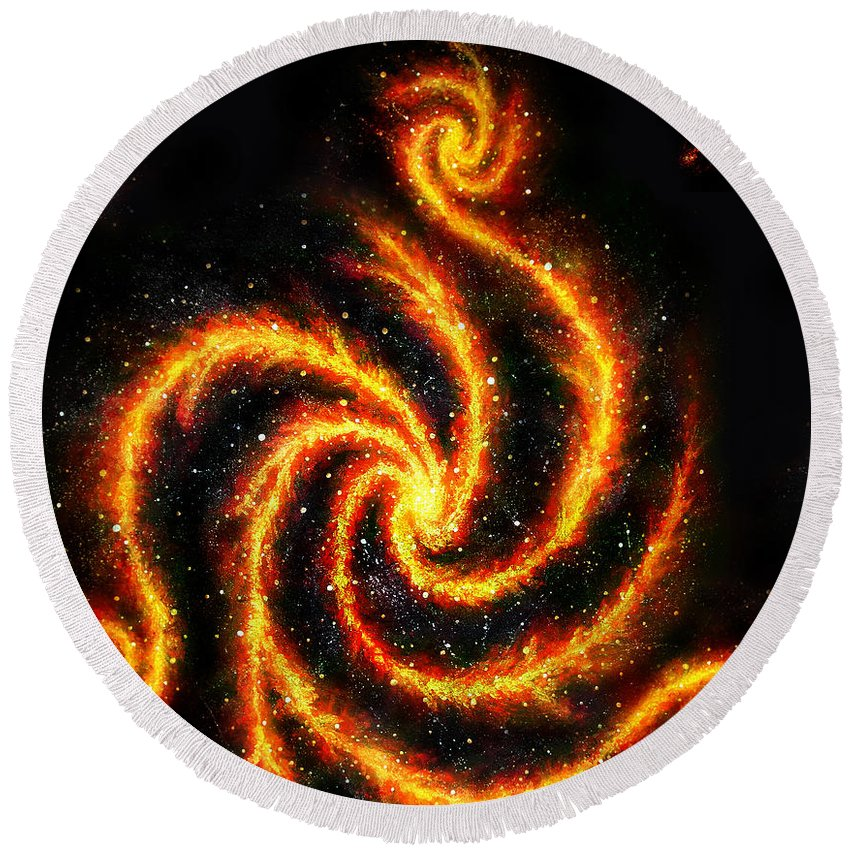 Galaxy Round Beach Towel featuring the painting Very Big Red Gold Spiral Galaxy by Sofia Metal Queen
