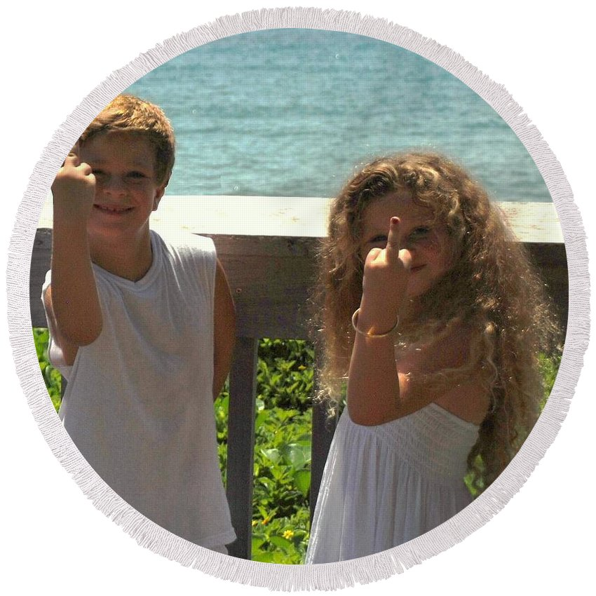 Kids Round Beach Towel featuring the photograph Very Naughty Angels by Rob Hans