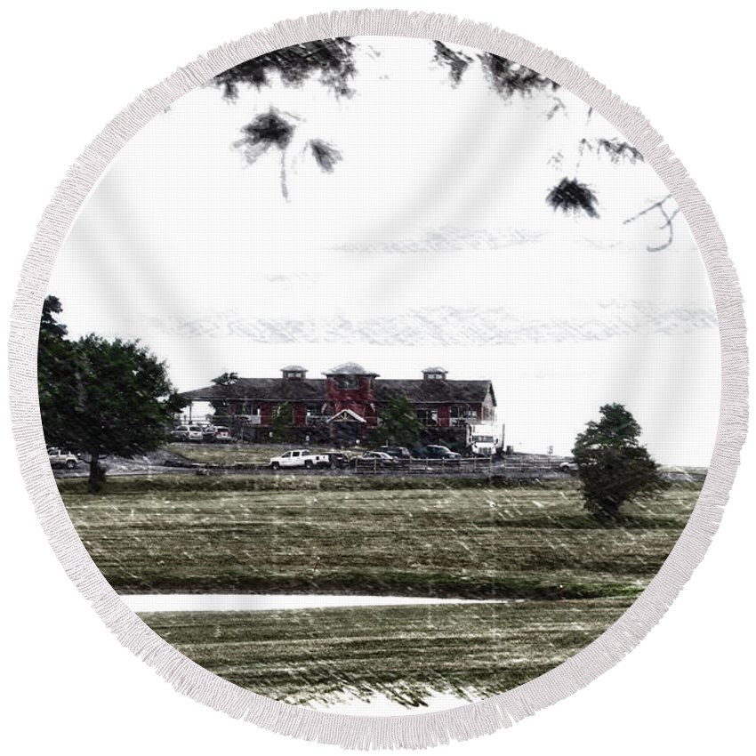 Tully New York Round Beach Towel featuring the photograph Vesper Hills Golf Club Tully New York Pa 02 by Thomas Woolworth