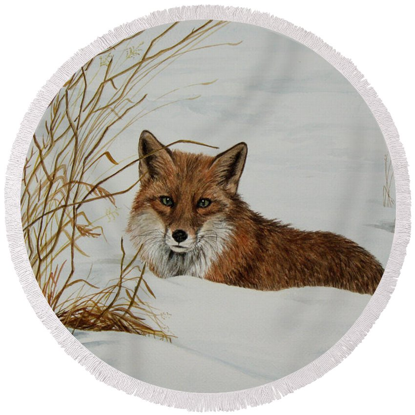 Wildlife Round Beach Towel featuring the painting Vexed Vixen - Red Fox by Elaine Booth-Kallweit