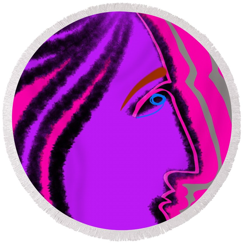 Face Round Beach Towel featuring the digital art Vibe by Jeff Quiros