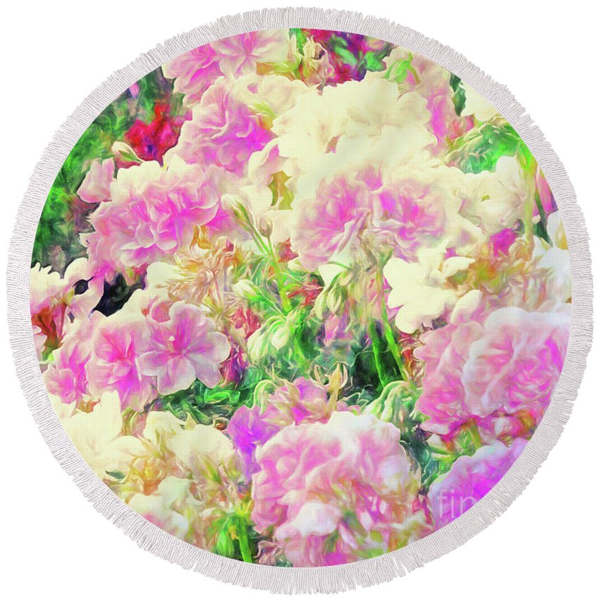 Flowers Round Beach Towel featuring the photograph Vibrance by Davy Cheng