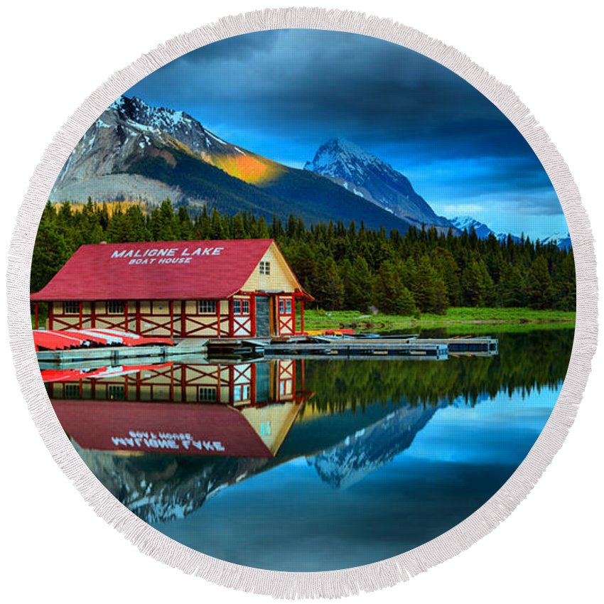 Maligne Lake Round Beach Towel featuring the photograph Vibrant Evening At Maligne Lake Boathouse by Adam Jewell