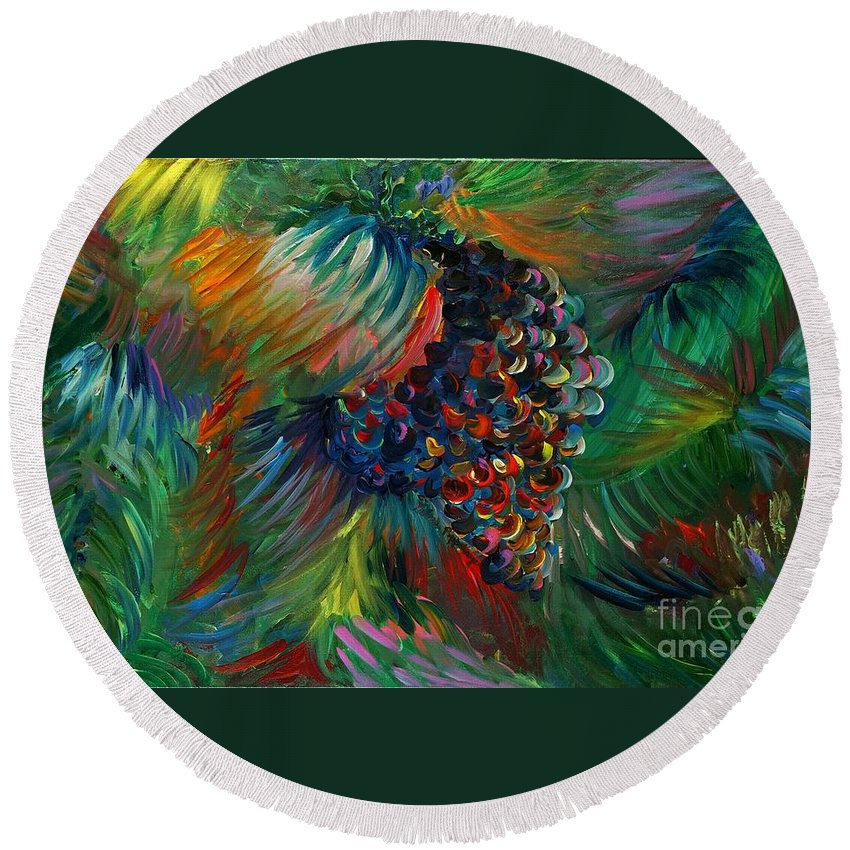 Grapes Round Beach Towel featuring the painting Vibrant Grapes by Nadine Rippelmeyer