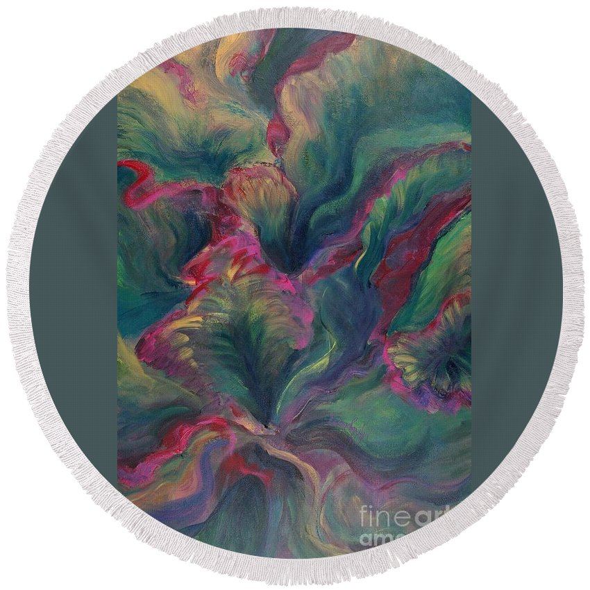 Leaves Round Beach Towel featuring the painting Vibrant Leaves by Nadine Rippelmeyer