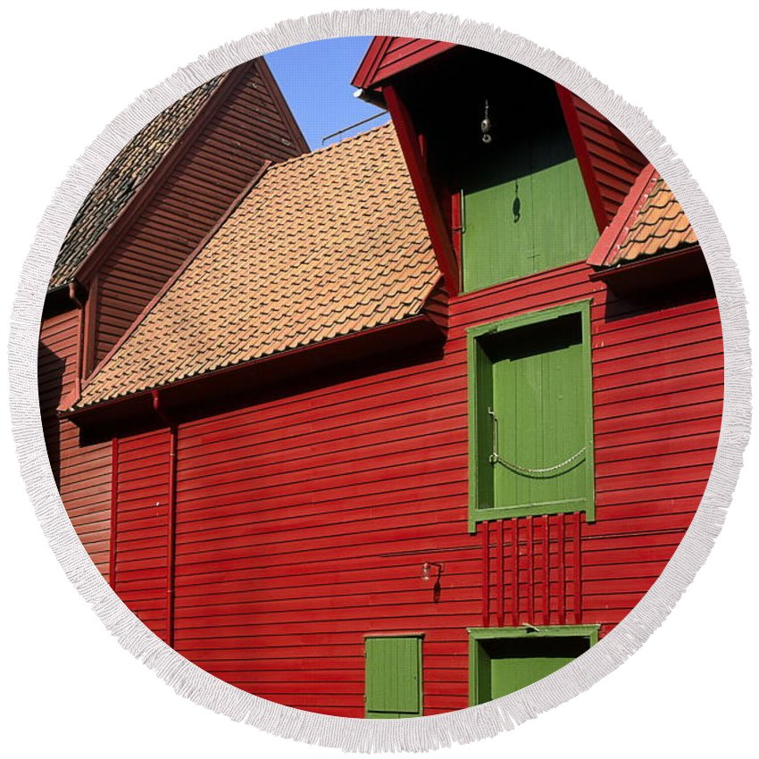 Vibrant Red & Green Building Round Beach Towel featuring the photograph Vibrant Red And Green Building by Sally Weigand
