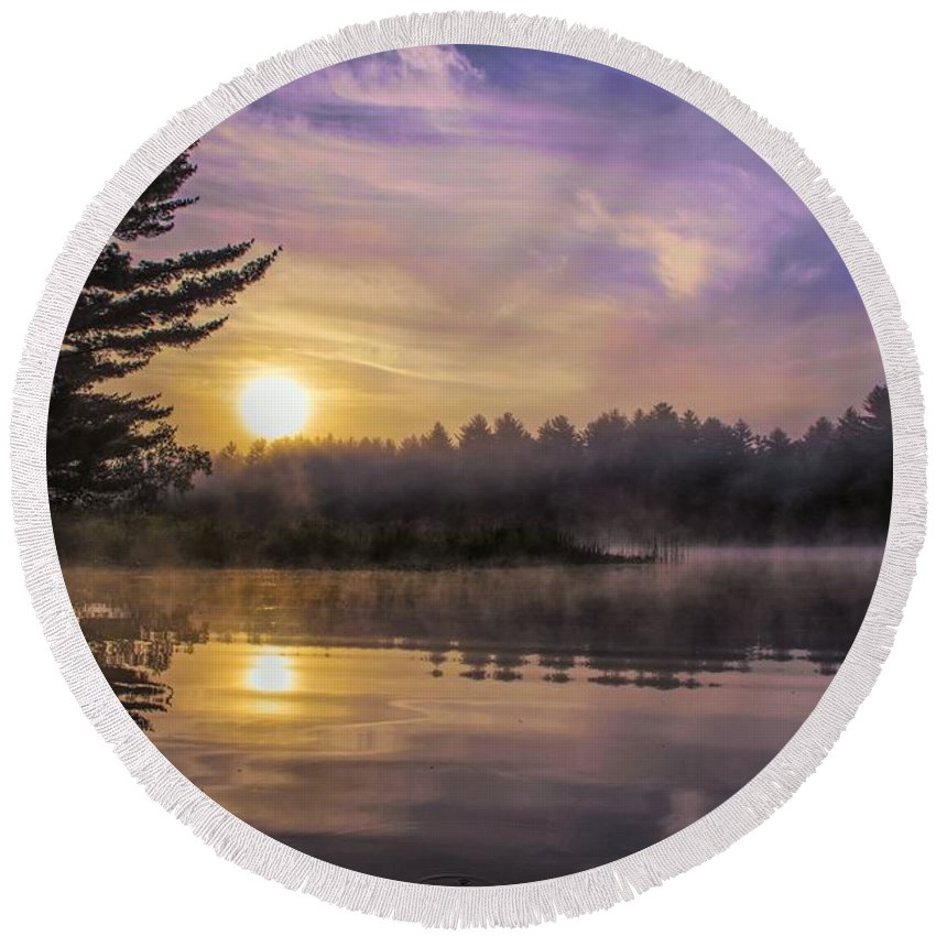Androscoggin River Round Beach Towel featuring the photograph Vibrant Sunrise On The Androscoggin River by Jan Mulherin